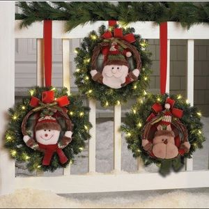 Christmas Wreath Santa Snowman Rattan Vine